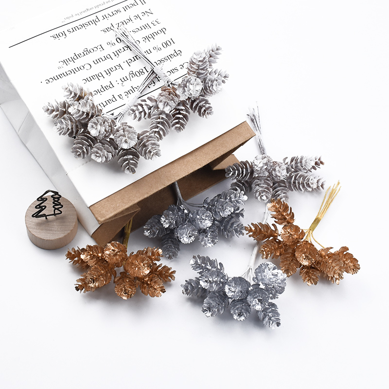 10pcs Golden Silver Pine Cone Christmas Decorations For Home Wedding Bridal Accessories Clearance Diy Gift Box Artificial Plants