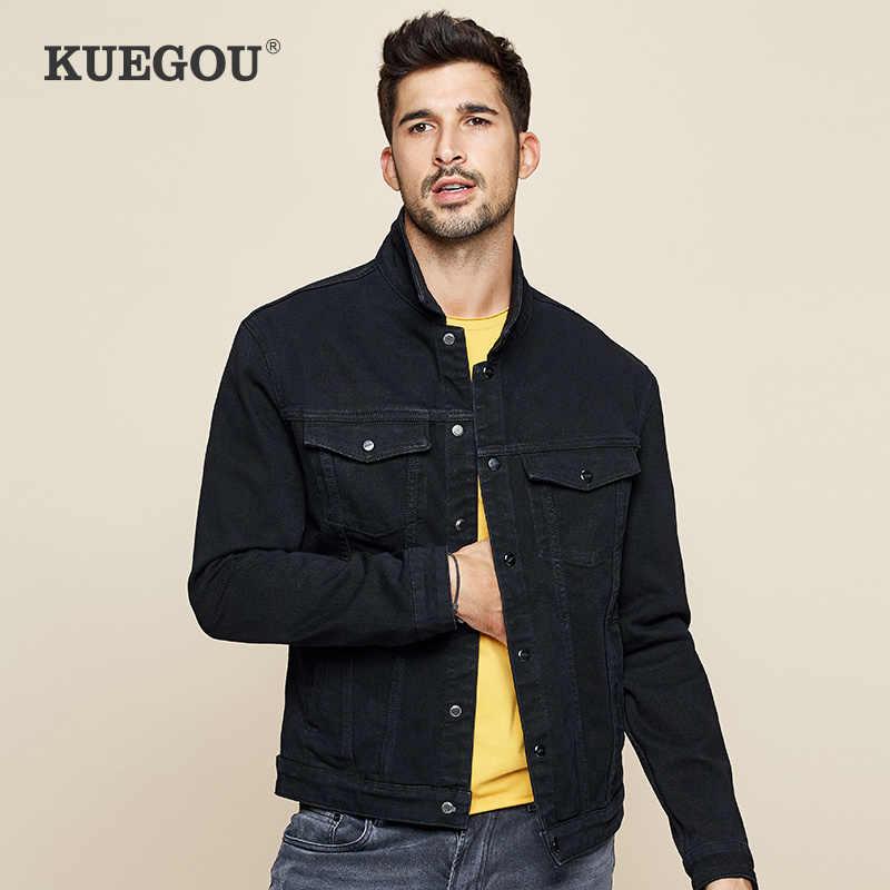Kuegou 2019秋黒デニムジャケット男性とコートヒップホップ日本ストリートヴィンテージ韓国服プラスサイズ2988