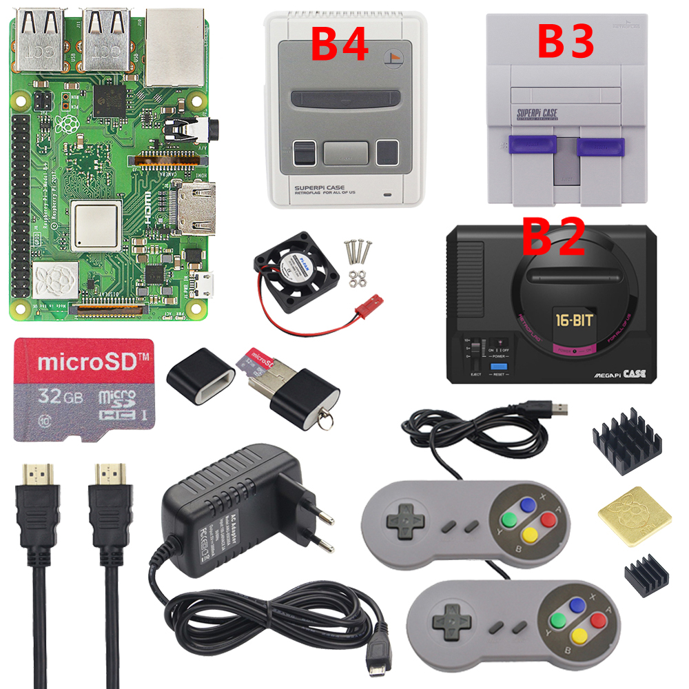 Raspberry Pi 3 Model B Plus Gaming Kit+Power Supply+32G SD Card+HDMI Cable+Heat Sink+Retroflag NESPi Case For Retropie 3B Plus