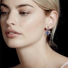 Sliver S925 Diamond Sapphire Earring for Women Bluet Topaz Aros Mujer Oreja Bizuteria Gemstone Silver 925 Jewelry Drop Earrings