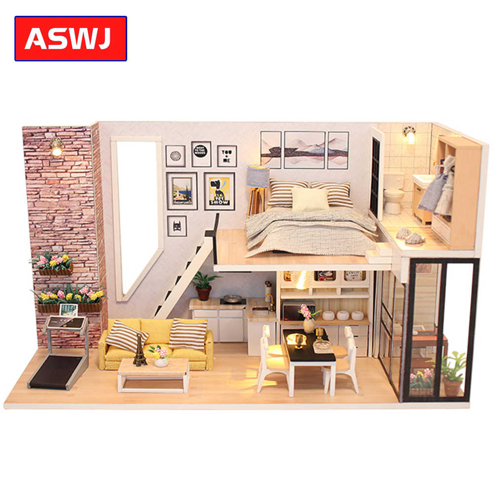 Roombox Doll House Wooden Miniature DIY DollHouse Furniture Kit Assemble with Dust Cover Doll Home Toys For children Gifts