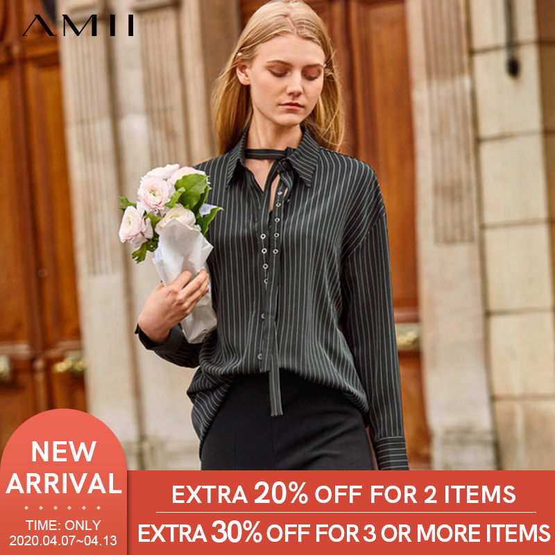 Amii Minimalist Striped Long Shirt Autumn Women Adjustable Turn Down Collar Or Strap Streamer Female Blouse Tops 11940094