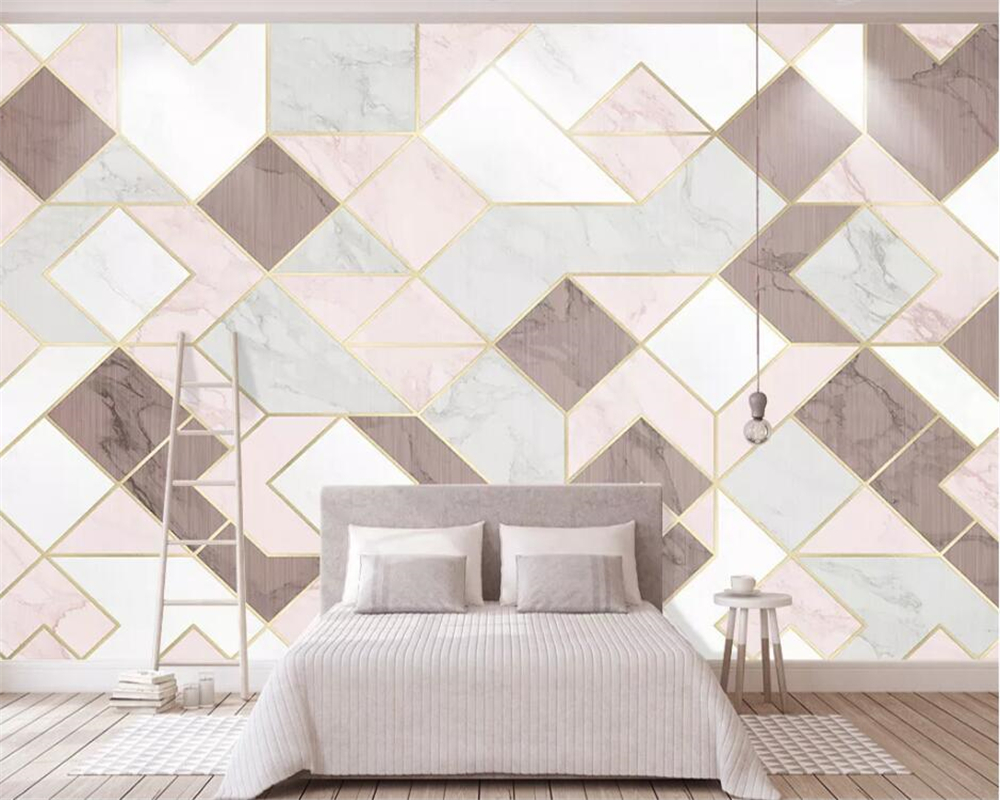 Beibehang  Custom Wallpaper Pink Geometry TV Background Wall Home Decoration Living Room Bedroom 3d Wallpaper Papel De Parede