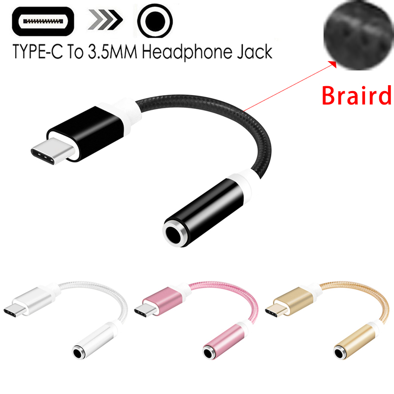 USB Type-C To 3.5mm Headphone Jack AUX Audio Cable Adapter For Samsung LG Nexus Oneplus Nokia Xiaomi Huawei Type C Smart Phones