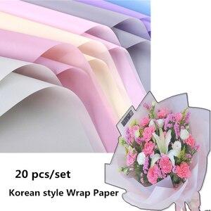 20 sztuk/zestaw w stylu koreańskim kolorowa bibuła zawijanie papieru kwiatowego papier do pakowania prezentów ślubnych pakowanie prezentów Materi
