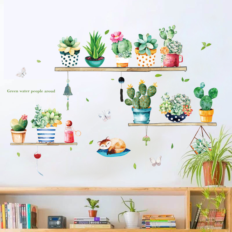 Potted cactus Wall Sticker bedroom living room TV sofa background decoration art decasl home removable Self-adhesive stickers