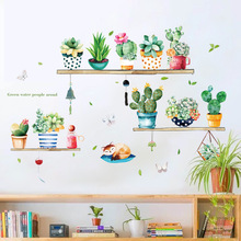 Wall-Sticker Background-Decoration Sofa TV Cactus Bedroom Art-Decasl Living-Room Home