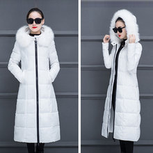 Winter Hooded Down Coats Women Soild Thicken Warm Large Fur Collar Long Zipper Slim Tops Casual Fashion Vintage Parkas Wild New все цены