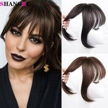 Shangke feminino cabelo sintético franja 3d franja grampo de cabelo em extensões de cabelo resistente ao calor falso acessórios de cabelo peruca
