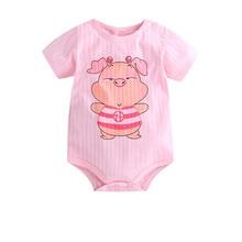 Newborn Toddler Infant Baby Girl Short Sleeve Letter Romper Cotton Jumpsuit Outf