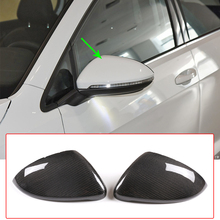 цена на Car Styling Exterior Rearview Mirror Caps Cover Frame Trim Real Carbon Fiber For VW Volkswagen Golf 7,Lindu,New Touran Accessory