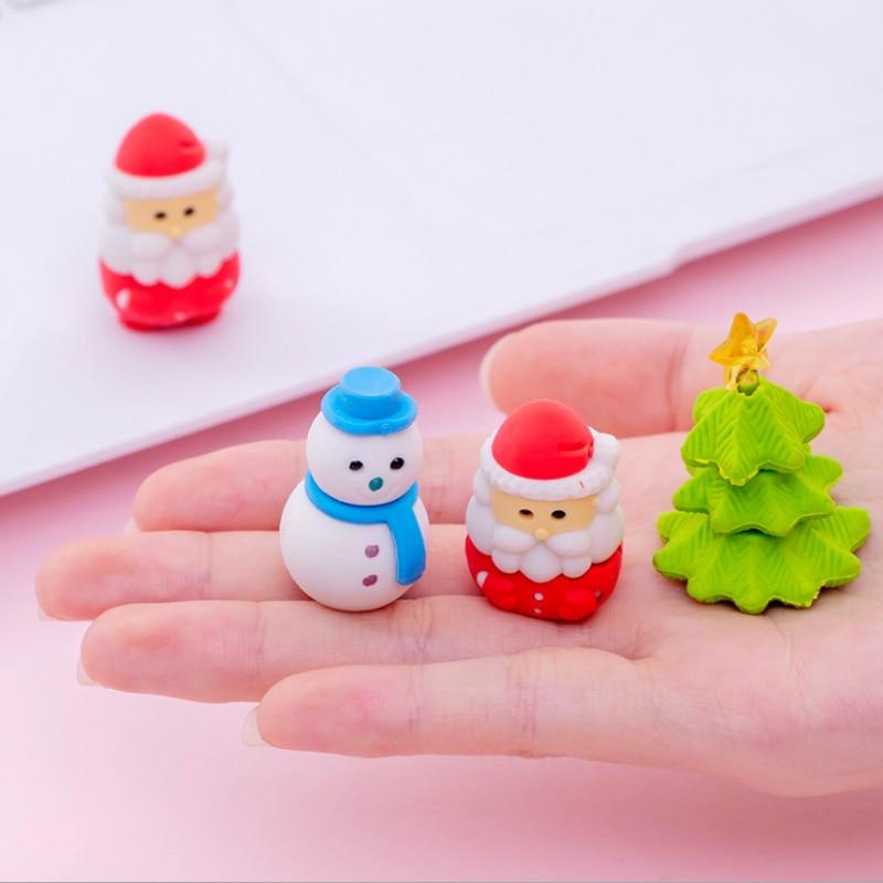 6pcs/lot Christmas Series Elk Santa Eraser Children Stationery School Supplies Rubber Correction Supplies Kids Girl Toy Gift