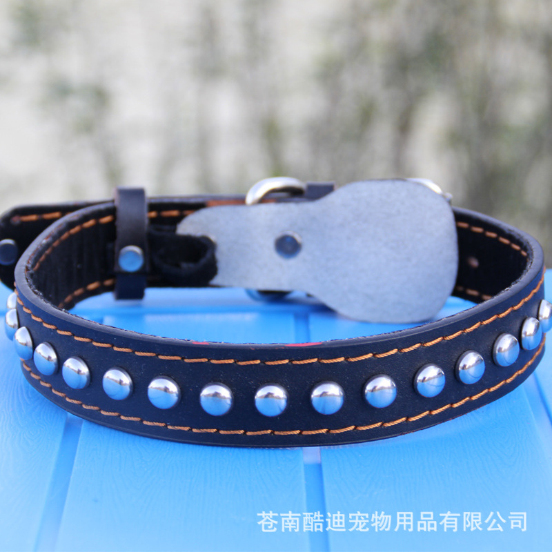 Small Wholesale And Medium-sized Dog Pet Collar Genuine Leather Collar Cowhide Dog Collar Dog Chain Pet Supplies