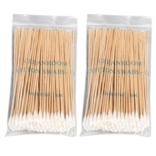 100/200Pcs 6 Inch Long Wooden Handle Cotton Swabs Cleaning Sticks Applicator