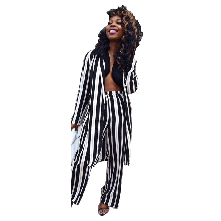 WOMEN'S Dress AliExpress Hot Selling Fashion Leisure Suit Printed Stripes Loose Pants