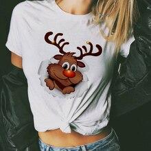 Suitable all seasons New cute reindeer t shirt women fashion Christmas Harajuku Short Sleeve t shirt White Tshirt Tops clothing