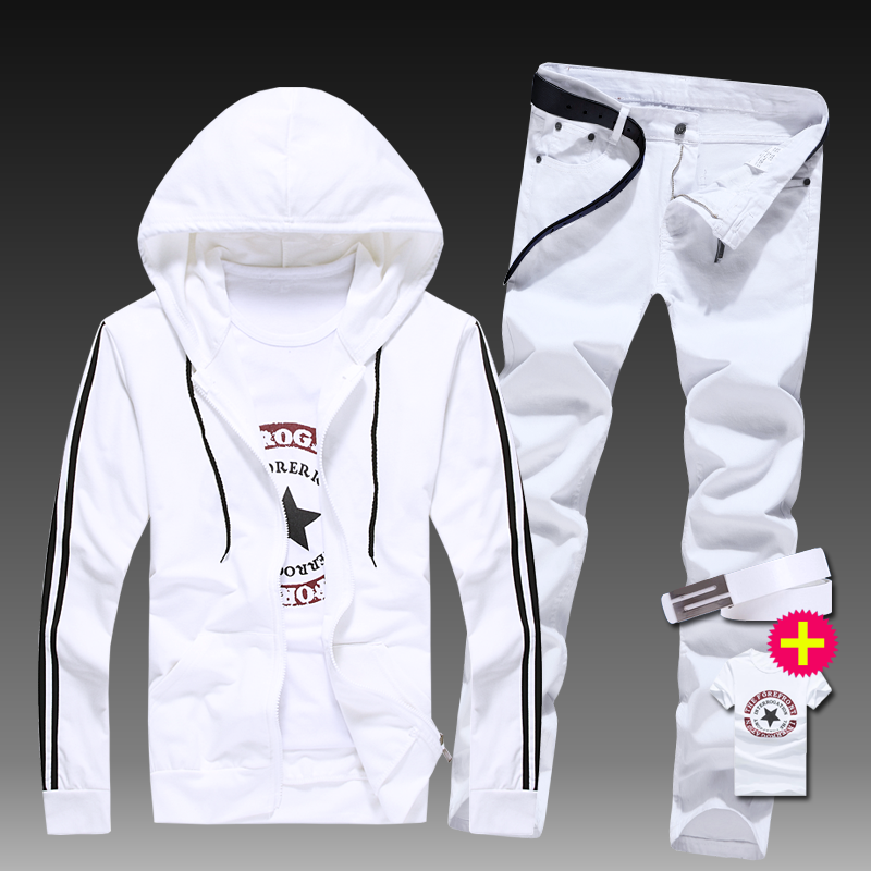 New Mens Sweatshirt Hoodie Top Hooded Coat Pencil Jeans Pants Boys Casual Jacket Trousers Two Pcs Set For Male Autumn Clothing Z