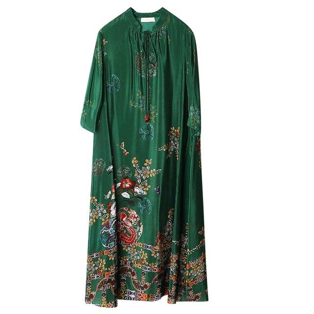 2021 New 3D Printed Round Neck Fashion Loose Large Hem Women's Dress Simple Korean Stitching Three-quarter Sleeve Women Clothes 4