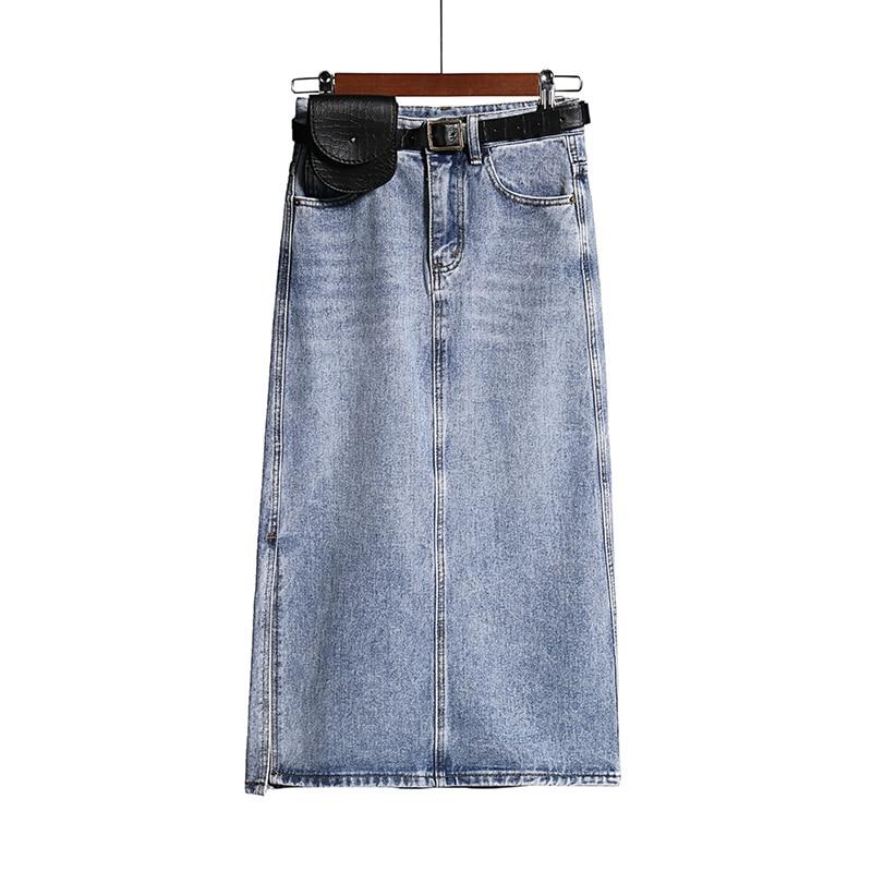 Split Cotton Long Denim Skirt Women Belted Pockets Jeans Skirts Summer Korean High Waist A-line Pencil Skirt Casual 2020