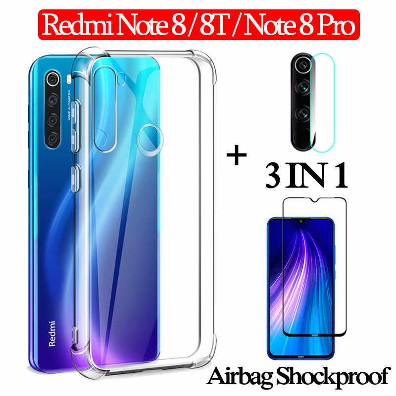 3 イン 1 エアバッグ capa ケース + ガラス Xiaomi redmi 注 8 プロ 8 T 360 フルカバーケース redmi-note-8t クリアケース注 8t Nfc 裏表紙
