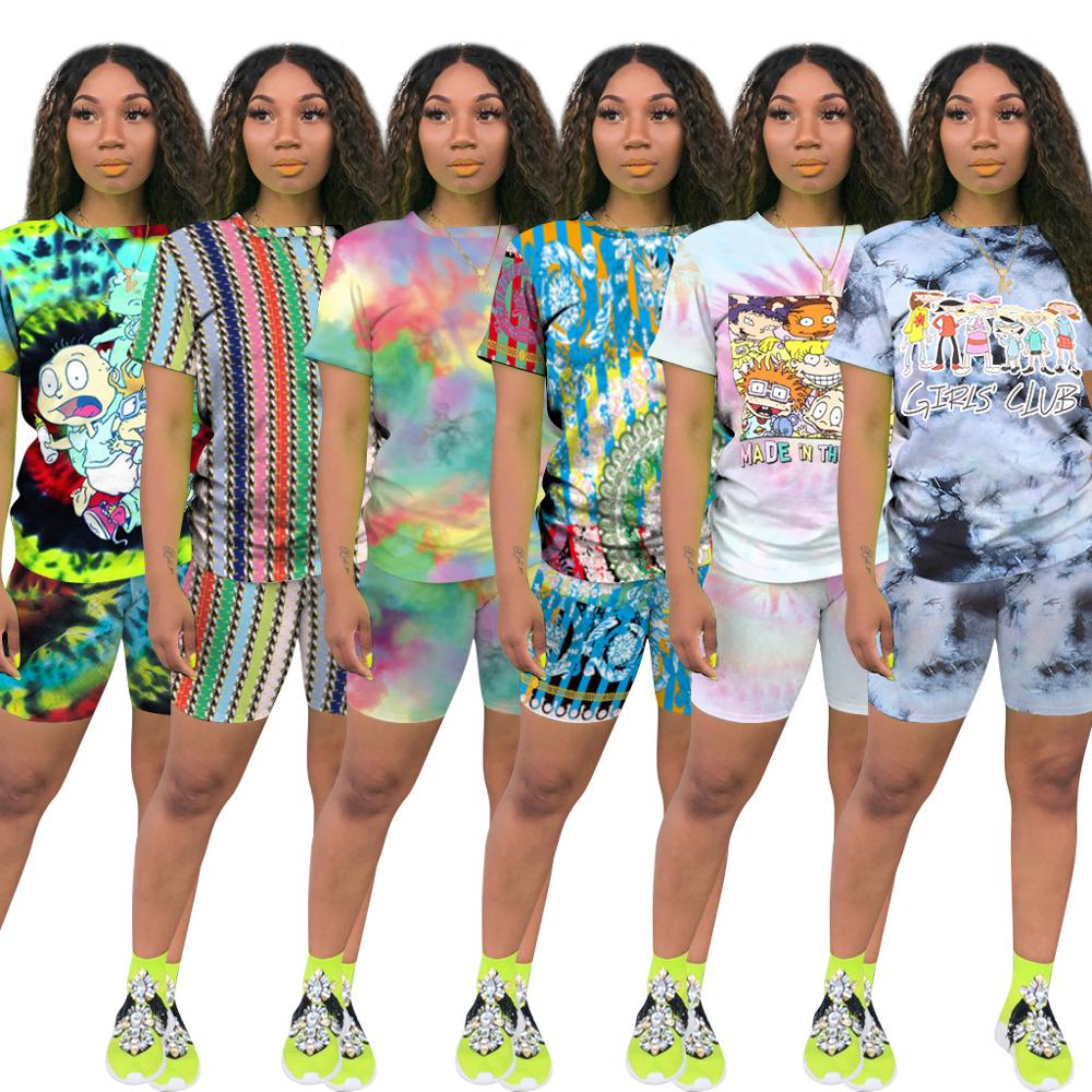 Wjustforu Casual Fashion Printing Plus Size 2 Piece Set Mujer 6 Colors Summer Short Sleeve Shorts Suit  Two Piece Set Female