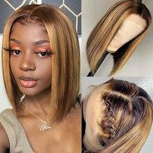 #4/27 evidenzia parrucche Bob parrucche frontali in pizzo dritto parrucche per donne parrucche colorate Gluess per capelli umani parrucca anteriore in pizzo Bob 13x4