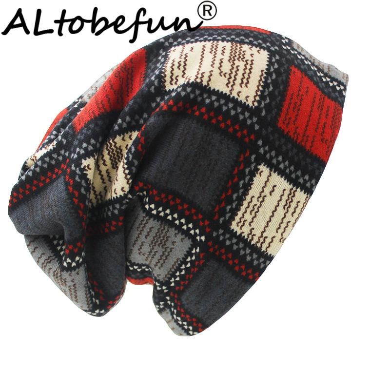 ALTOBEFUN Brand Autumn Winter Hats For Women Skullies And Beanies Men Hat Unisex Plaid Design Contrast Color Ladies Hat BHT022