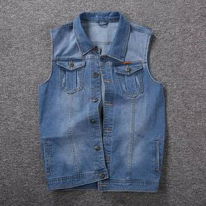 Image 4 - Mens denim vest mens spring blue outdoor multi pocket vest sleeveless 8XL 7XL 6XL 5XL large size denim vest handsome tide