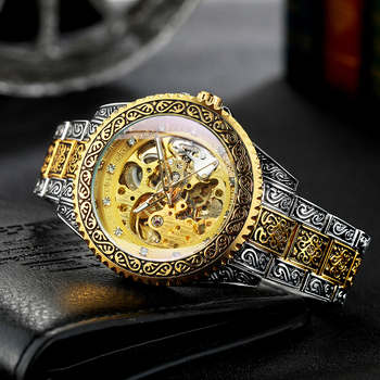 Gold Skeleton Men Watch Automatic Mechanical Vintage Royal Fashion Engraved Auto Wrist Watches Top Brand Luxury Crystal