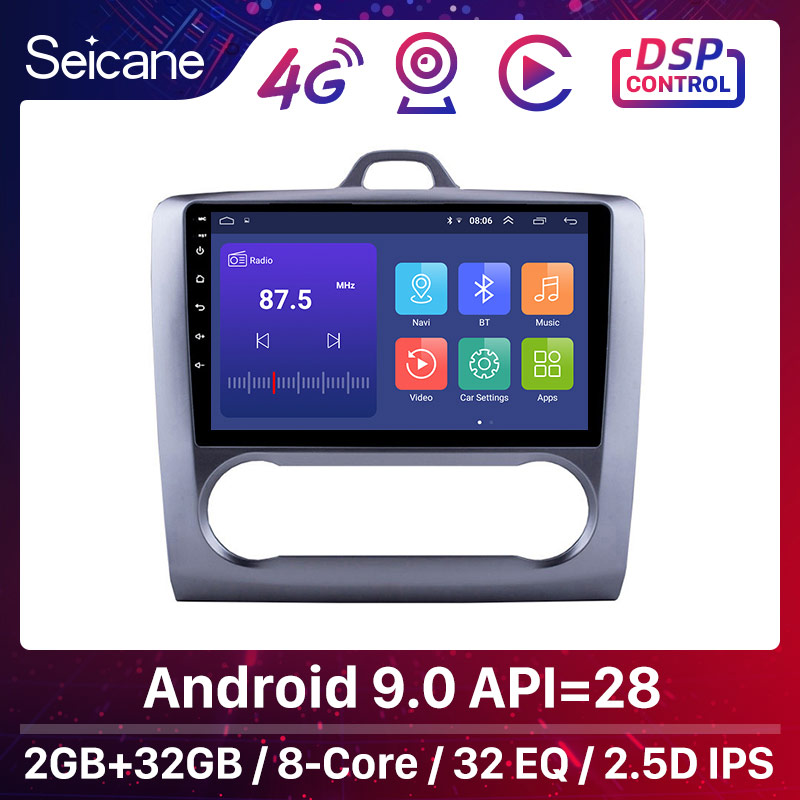 Seicane For 2004 2005 2006-2011 Ford Focus Exi AT Android 9.0 2 DIN 9 Inch GPS Navigation Touchscreen Quad-core Car Radio 3G(China)