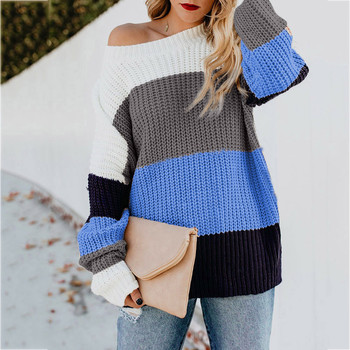 Backless Sweater Women Patchwork Off The Shoulder Popcorn Sweaters Mujer Casual Truien Knitted Loose Pullover Oversize Blouse фото