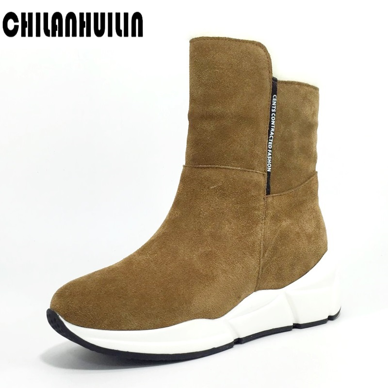 classic women shoes warm fur ankle boots for women suede leather snow boots Russia winter boots female outdoor wedge ankle boots