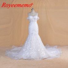 2020 חדש desgin חתונת שמלות תחרת הכלה שמלת תפור לפי מידה כבוי כתף שרוולים בת ים שמלת כלה סיטונאי מחיר