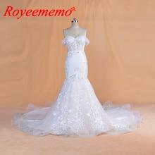 2020 تصميم جديد فساتين زفاف دانتيل فستان عروس مخصص قبالة الكتف الأكمام حورية البحر ثوب زفاف سعر الجملة