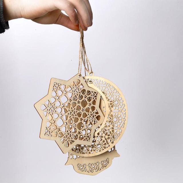 3pcs Wooden Eid Mubarak Pendant Sets DIY Holiday Party Hollow Out Wooden Moon Islam Muslim Ramadan Hanging Decoration