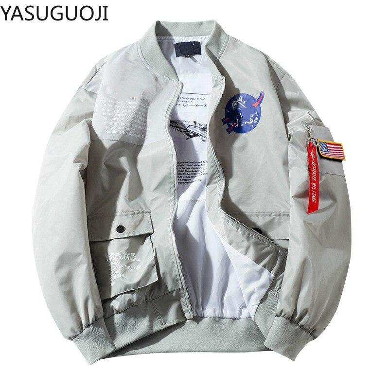 Мужская куртка-бомбер YASUGUOJI, тонкая летная куртка в стиле хип-хоп, летная авиация ВВС США, Корейская Студенческая куртка