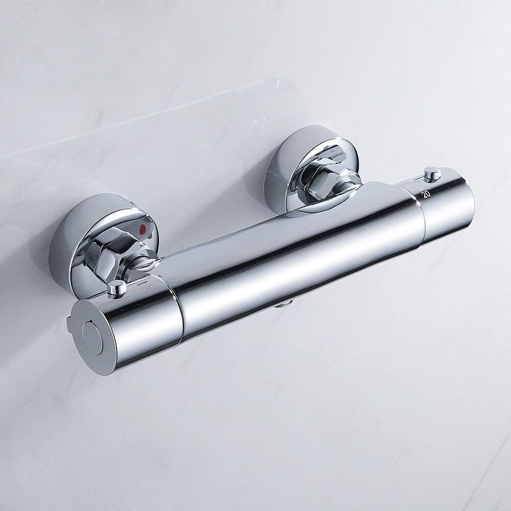 Bad Dusche Wasserhahn Thermostat Dusche Armaturen Wand Montiert Mixer Ventil Tap Thermostat Dusche Mixer Bad Twin Outlet Tap