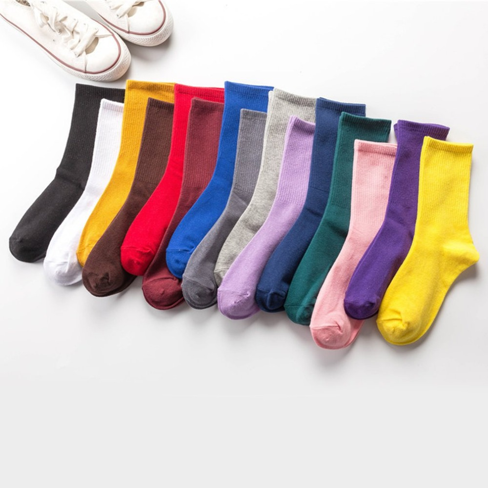 Fashion Long Tube Cotton Socks Men Women Casual Breathable Warm Skateboard Sports Socks Chaussettes Femmes Students Socks