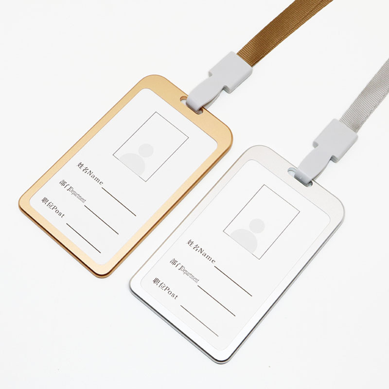 Aluminium Alloy Work Card Holder Certificate Holder Job Card Lanyard Work Card Metal Badge Customizable