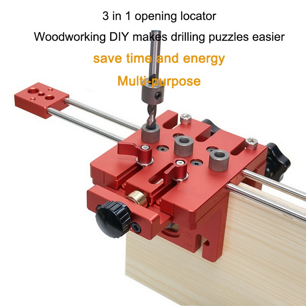 3 In 1 Woodworking Hole Drill Punch Positioner Guide Locator Jig Joinery System Kit Wood Working DIY Tool With Limit Hole Opener