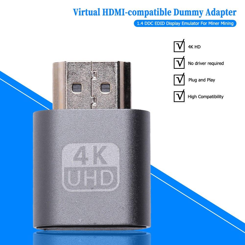HDMI-compatible Virtual Display Adapter 1.4 DDC EDID Dummy Plug Lock Graphics Card GPU Rig Emulator for Bitcoin BTC Mining Miner-2