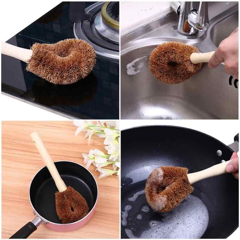 Brocha de fibra de coco, brocha para colgar, brocha antiadherente, mango largo para aceite, brocha para lavar en casa, brocha para lavar en casa, herramienta de limpieza de cocina