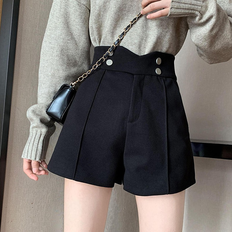 Women's Shorts Solid Color High Waist Autumn Winter Wool Casual Wide Leg Pants Plus Size Woolen Double Pocket Shorts