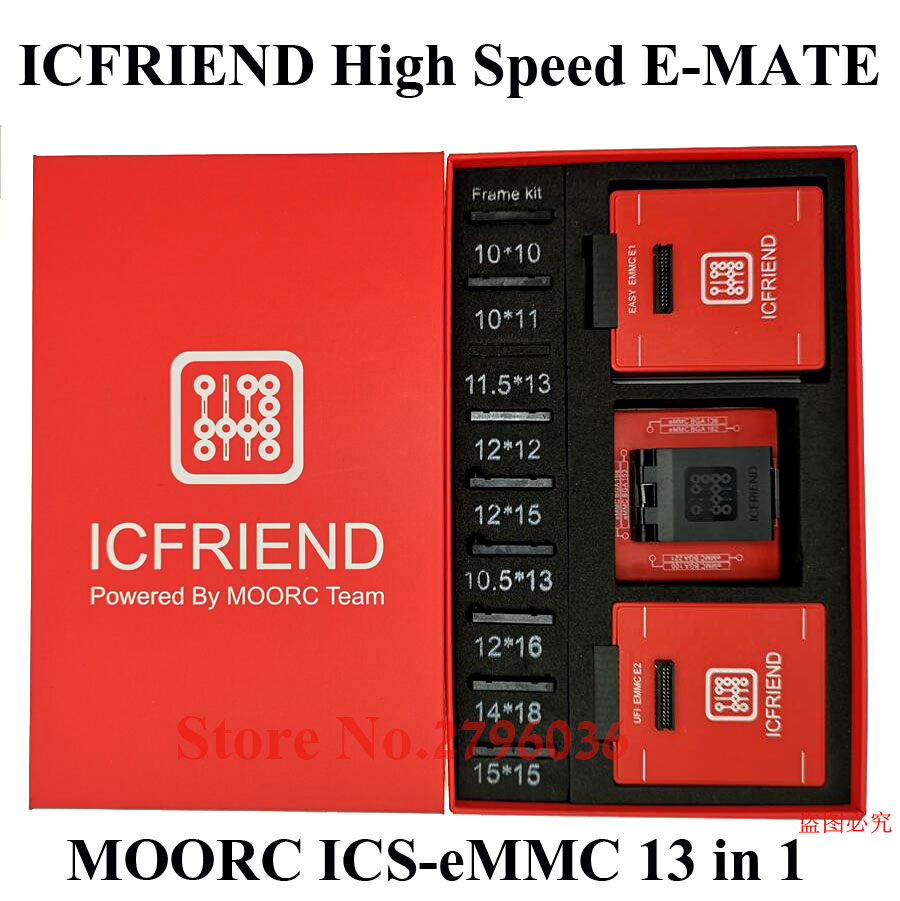 New Original MOORC ICFRIEND High Speed E-MATE  EMMC  ICs-eMMC 13 In 1  BGA For 100136168153169169162186221529254 Easy Jtag  Plus