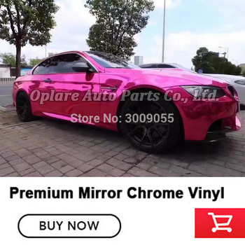 Highest quality air release channels pink chrome wrapping film chrome Mirror vinyl low initial tack adhesive