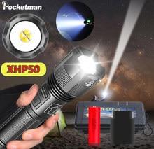 Lampe de poche USB LED la plus puissante, torche à main tactique Rechargeable, 300000 ou 18650, XHP50, XHP50.2, 26650 lm