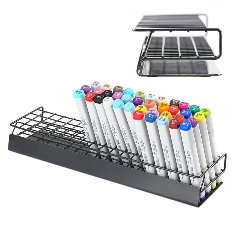 72 Slots Marker Holder Desk Stand Wrought Iron Organizer Storage Rack Slightly Slanted Design For Touchnew Art Markers Pen