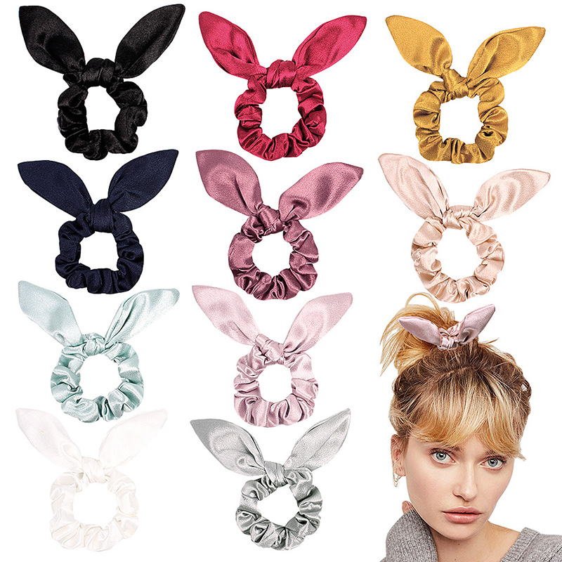Cute Solid Hair Rope Solid Color Women Glitter Bling Knotted Elastic Hair Bands Rabbit Ear Ribbon Hair Ties Hair Accessories