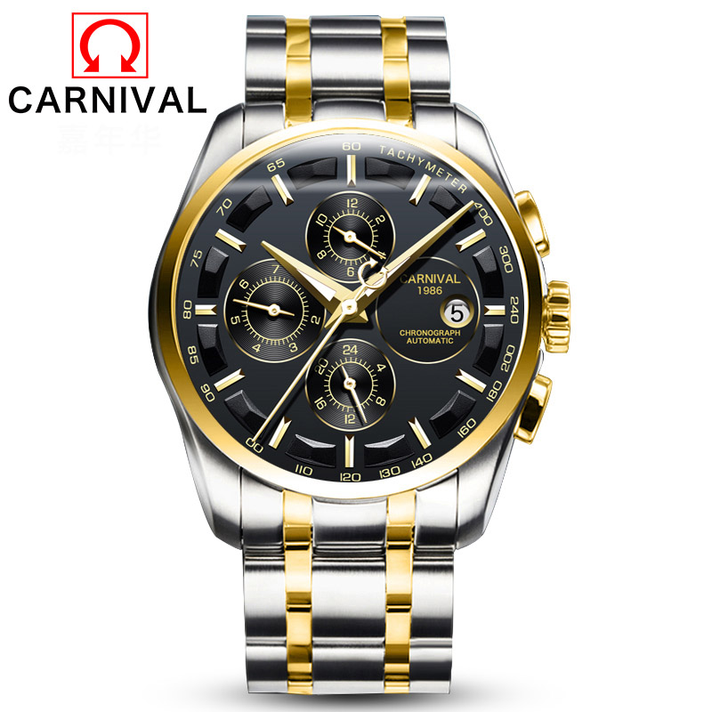 Carnival Military Sports Automatic Mechanical Watch Men Waterproo Sapphire Full Steel Strap Luxury Brand Mens Watches relogio