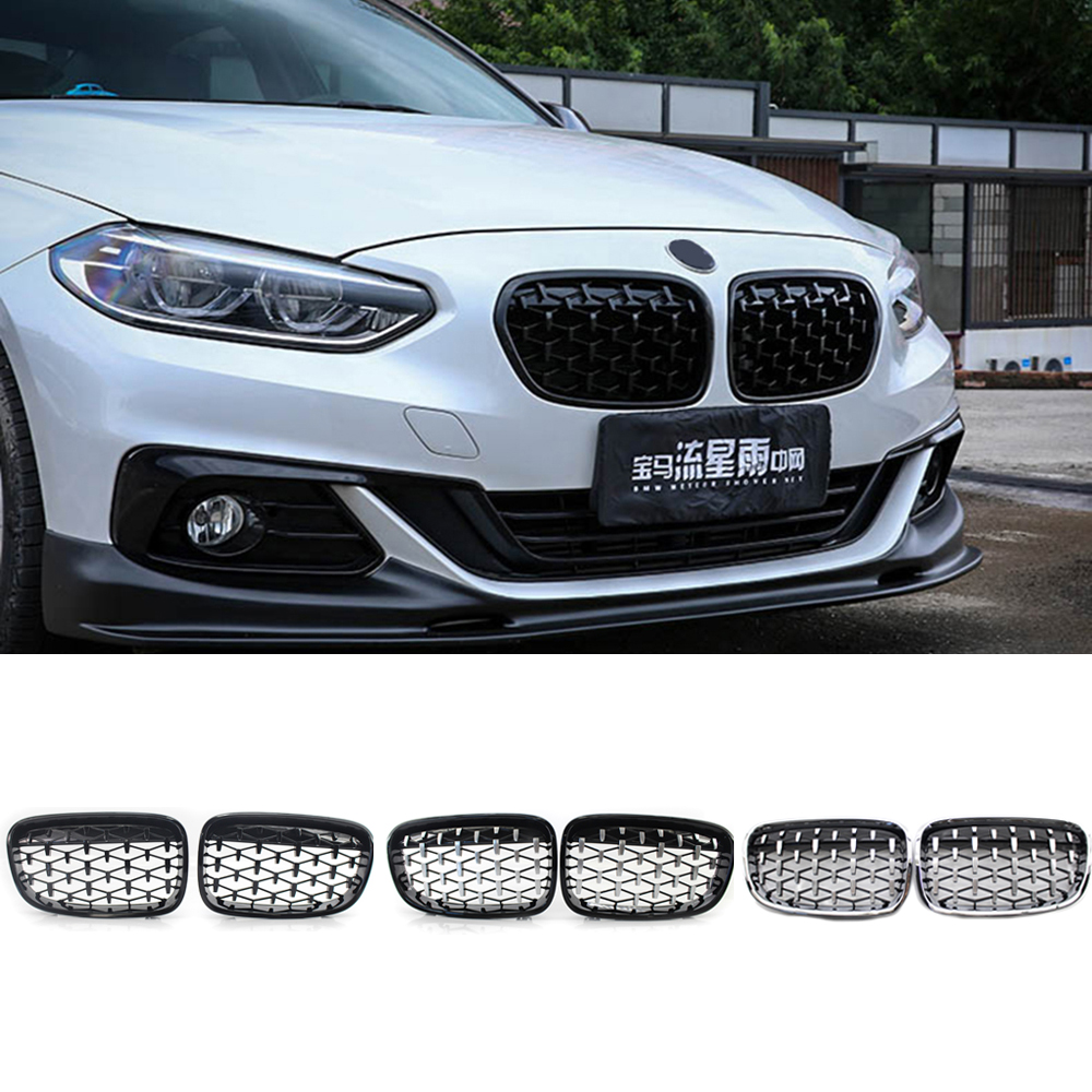 2Pcs Front Gloss Black Grille Chrome Diamond Meteor Grill for BMW 1 Series F20 F21 2010-2014 Front Kidney Replacement Grilles image
